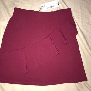 Boohoo ruffle burgundy skirt